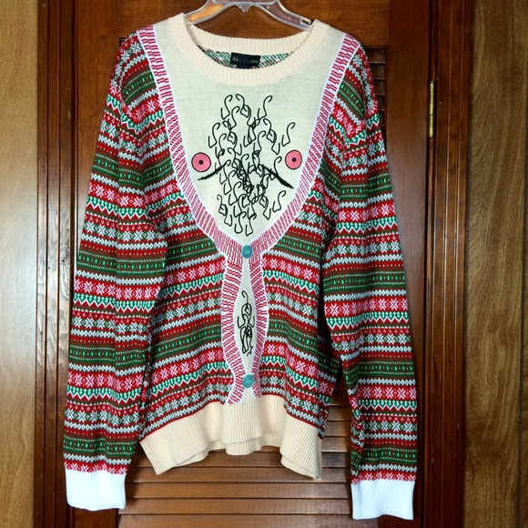 Alex Stevens Sweaters Ugly Christmas Sweater Mens Hairy Chest Size